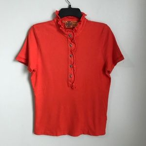 Tory Burch Orange Lidia Ruffle Trim Polo Shirt